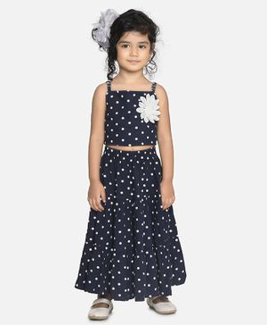 Aww Hunnie Sleeveless Polka Crop Top With Lyre Long Skirt - Blue