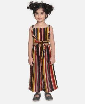 Aww Hunnie Sleeveless Knot Crop Top With Stripes Culottes - Multicolour