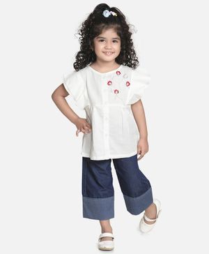 Aww Hunnie Half Sleeves Embroidery Work Top With Straight Pants - White & Blue