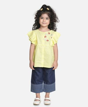 Aww Hunnie Half Sleeves Embroidery Work Top With Straight Pants - Yellow & Blue