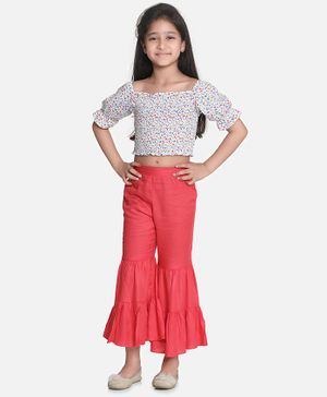 Aww Hunnie Half Sleeves Floral Top With Ruffled Pants - White & Red