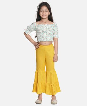 Aww Hunnie Half Sleeves Floral Top With Ruffled Pants - White & Yellow