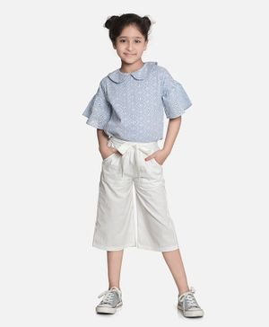 Aww Hunnie Three Fourth Sleeves Chikankari Work Top With Culottes - Blue