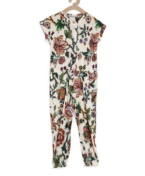 Tiara Short Sleeves Floral Print Jumpsuit - White