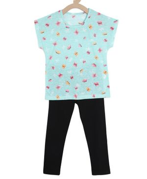 Tiara Short Sleeves Butterfly Printed Top & Leggings Set - Light Blue