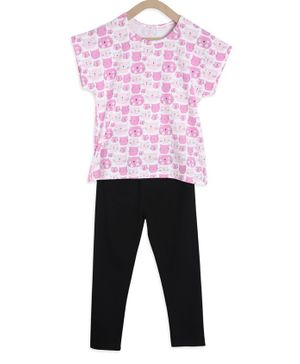 Tiara Short Sleeves Cat Face Printed Top & Leggings Set - Pink