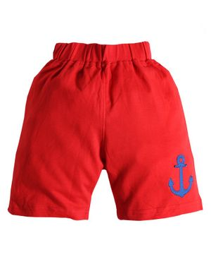 Soft Touche Anchor Patch Shorts - Red
