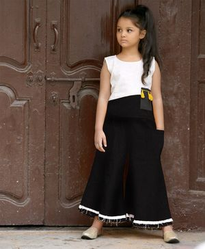 Tutus By Tutu Khadi Sleeveless Color Blocked Top & Flared Pants - Black