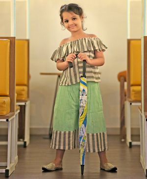 Tutus By Tutu Khadi Short Sleeves Striped Top With Culottes - Green