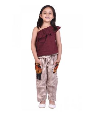 Tutus By Tutu Sleeveless Top With Striped Pants - Maroon