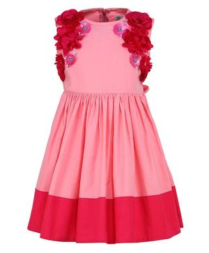 A Little Fable Flower Detailed At Neckline Sleeveless Dress - Pink