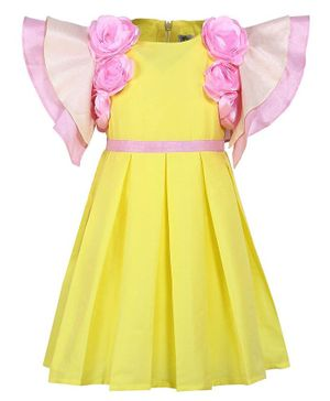A Little Fable Rose Applique Short Sleeves Dress - Yellow