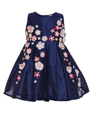 A Little Fable Flower Embellished Sleeveless Dress - Navy Blue