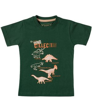 Kid Studio Half Sleeves Dinosaur Printed T-Shirt - Dark Green