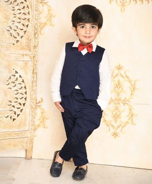 Amairaa Solid Full Sleeves Shirt With Waistcoat Bow & Pants - Blue & White