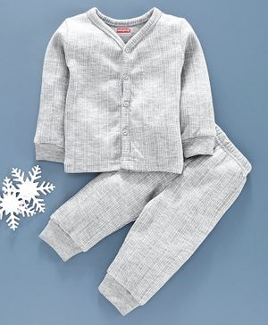 Babyhug Full Sleeves Full Length Thermal Wear Set - Light Grey