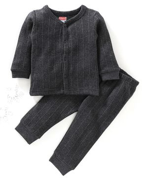 Babyhug Full Sleeves Thermal Vest & Bottoms - Dark Grey