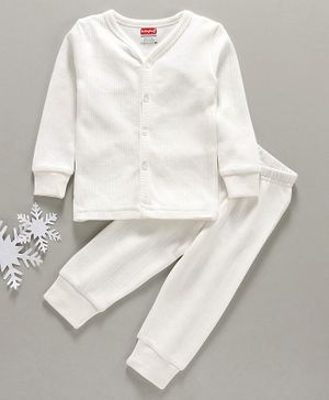 Babyhug Full Sleeves Thermal Vest & Bottoms - Off White