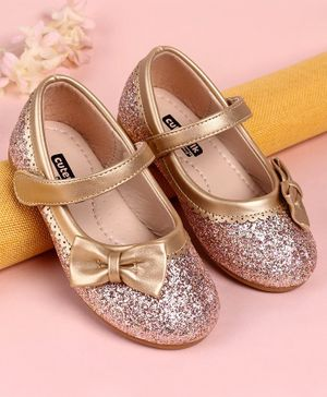 Cute Walk by Babyhug Party Wear Belly Shoes Bow Appliques - Golden
