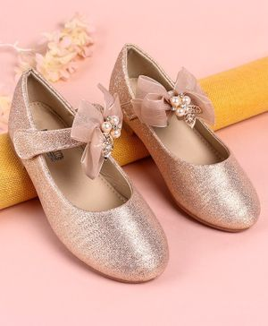 Cute Walk by Babyhug Belly Shoes Bead Detailing - Rose Gold