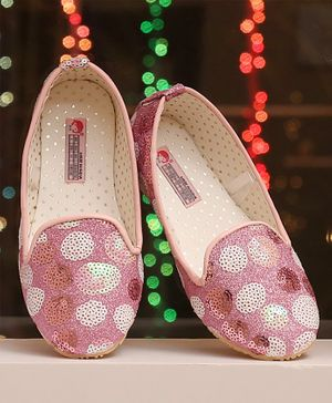 D'chica Glitter Sequined Loafers - Pink