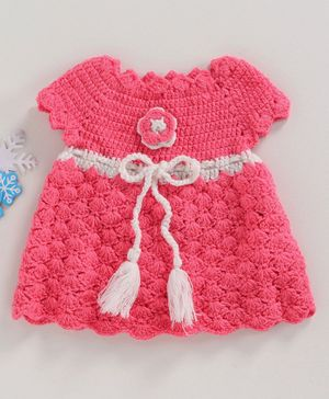 Babyhug Short Sleeves Woollen Dress Corsage Design - Pink