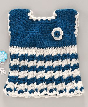 Babyhug Sleeveless Handmade Crochet Dress Floral Applique - Blue