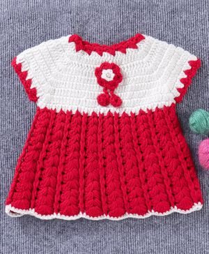 Babyhug Sleeveless Woollen Dress Corsage Design - Red