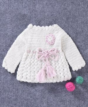 Babyhug Full Sleeves Woollen Dress Corsage Design - White