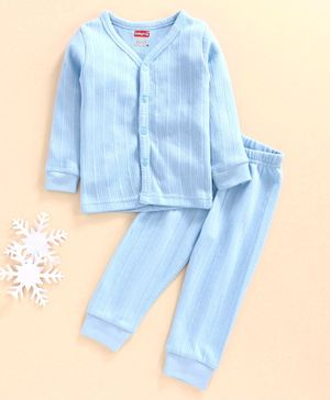 Babyhug Full Sleeves Thermal Vest & Bottoms - Blue