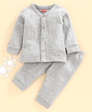 Babyhug Full Sleeves Thermal Inner Wear Set - Light Grey