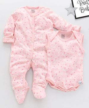 ROYAL BRATS Full Sleeves Rabbit All Over Print Onesie & Romper Set - Pink