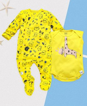 ROYAL BRATS Animals Printed Full Sleeves Onesie & Romper Set - Yellow