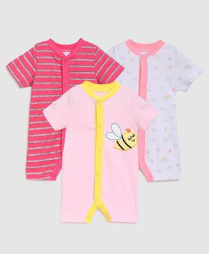 Zonko Style Half Sleeves Pack Of 3 Bee Patch Romper - Pink & White