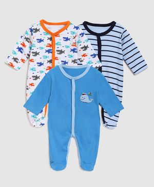 Zonko Style Full Sleeves Pack Of 3 Striped Footed Sleepsuit - Blue & White
