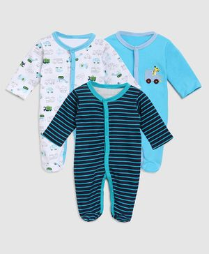 Zonko Style Full Sleeves Plane Printed Footed Sleepsuit - Blue & White