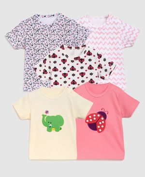 Zonko Style Half Sleeves Pack Of 5 Elephant Patch T-Shirt  - Pink White & Yellow