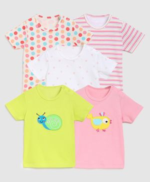 Zonko Style Pack Of 5 Half Sleeves Snail Patch T-Shirt  - White Pink & Yellow