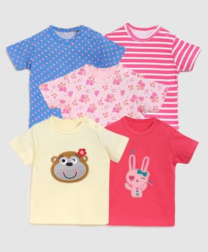 Zonko Style Pack Of 5 Half Sleeves Bear Patch T-Shirt - Cream Red Pink & Blue