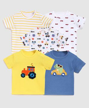 Zonko Style Pack Of 5 Half Sleeves Vehicle Printed T-Shirt  - White Blue & Yellow