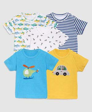 Zonko Style Pack Of 5 Half Sleeves Striped T-Shirt  - White Yellow & Blue