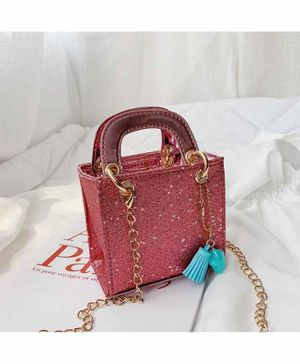 Vismiintrend Glitter Cross Body Sling Bag - Dark Pink
