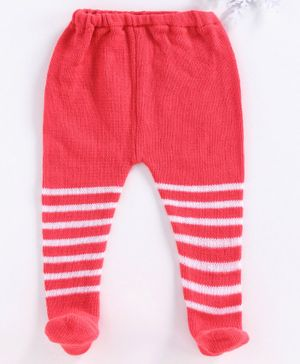 Babyhug Winter Wear Striped Bootie Leggings - Coral