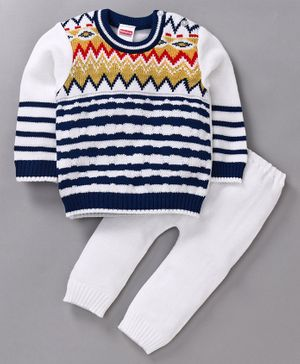 Babyhug Full Sleeves Sweater & Pajama - Blue