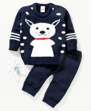 Babyhug Full Sleeves Sweater & Pajama - Navy
