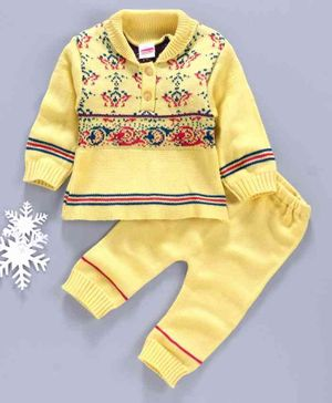 Babyhug Full Sleeves Sweater & Pajama Set Self Design - Yellow