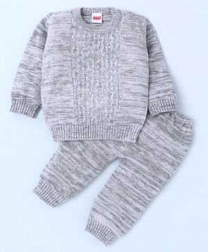 Babyhug Full Sleeves Sweater & Pajama - Grey