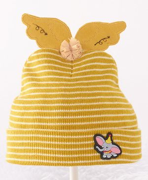 Babyhug Woollen Stripe Cap Elephant Patch - Yellow