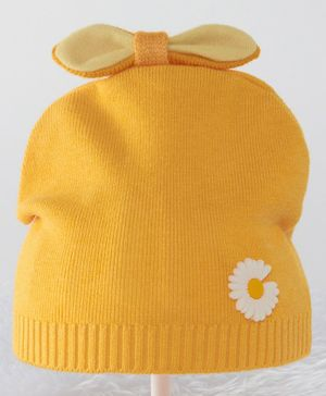 Babyhug Woollen Cap Bow Applique Yellow - Diameter 10 cm