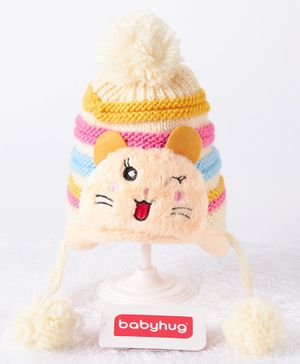 Babyhug Woollen Cap Kitty Design Light Yellow Cream - Diameter 11 cm